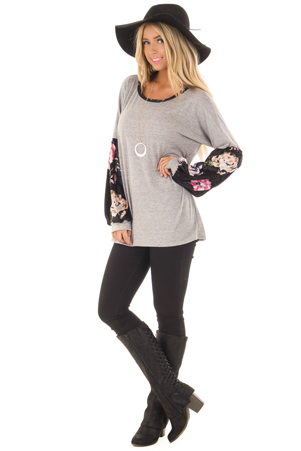 Heather Grey Top with Black Floral Print Velvet Contrast front full body