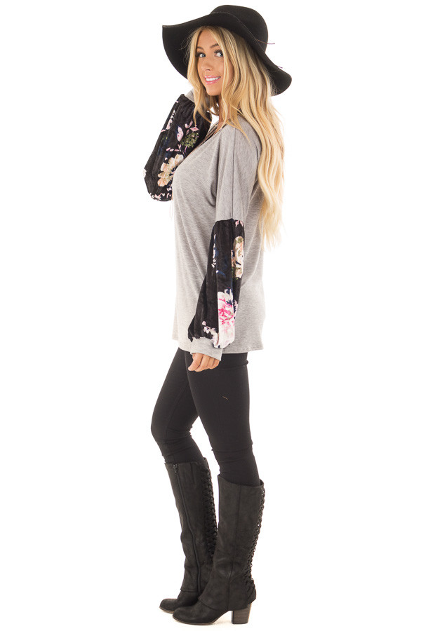 Heather Grey Top with Black Floral Print Velvet Contrast side full body