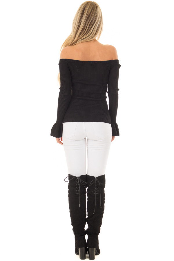 Black Ribbed Off the Shoulder Top with Bell Sleeves back full body