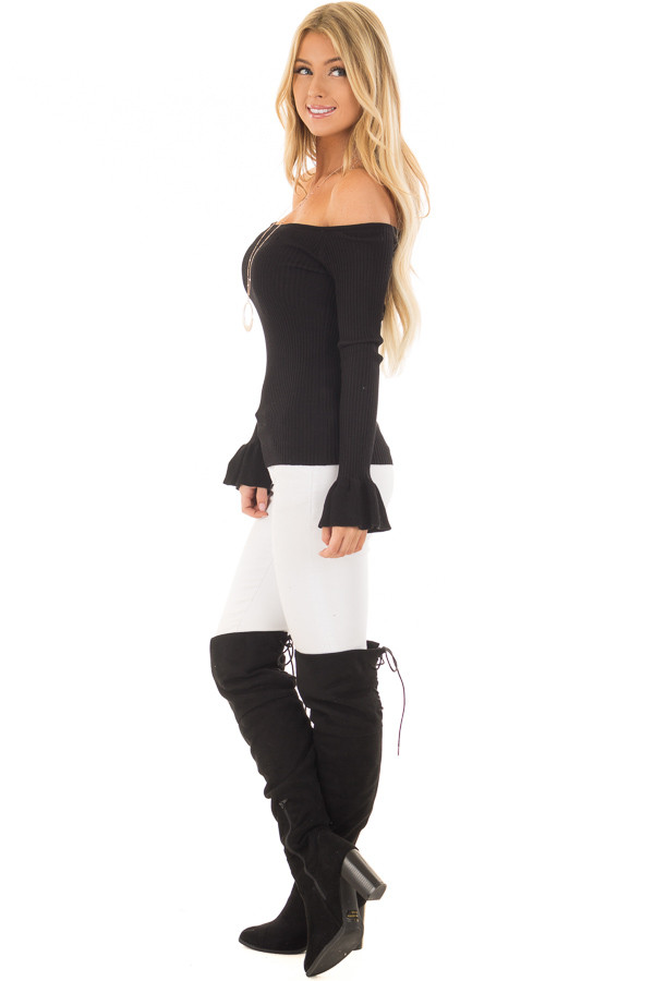 Black Ribbed Off the Shoulder Top with Bell Sleeves side full body