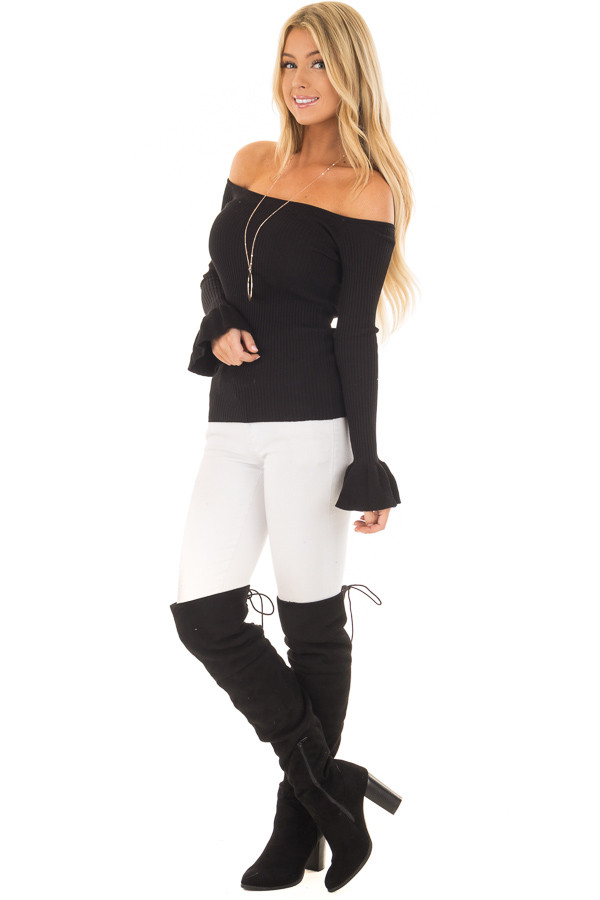 Black Ribbed Off the Shoulder Top with Bell Sleeves front full body