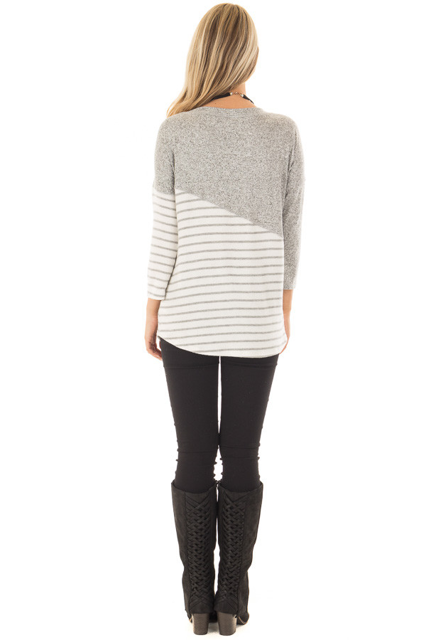 Heather Grey Soft Knit Top with Striped Diagonal Contrast back full body