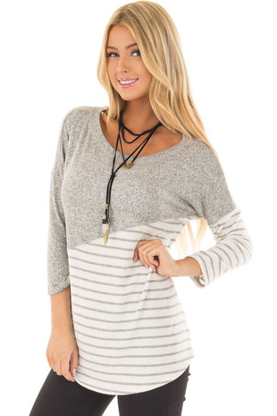 Heather Grey Soft Knit Top with Striped Diagonal Contrast front close up