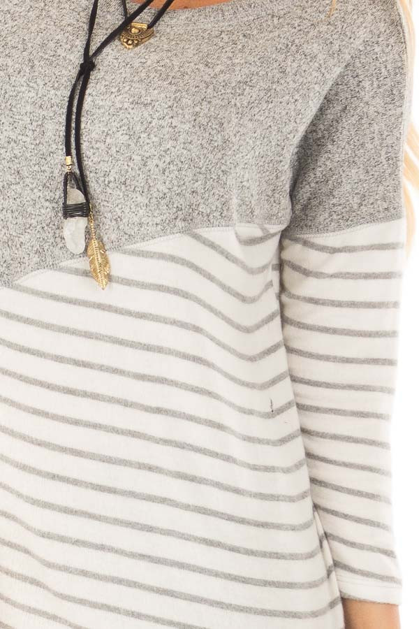Heather Grey Soft Knit Top with Striped Diagonal Contrast detail