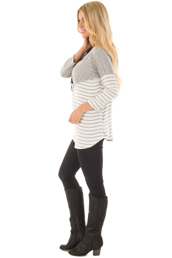 Heather Grey Soft Knit Top with Striped Diagonal Contrast side full body