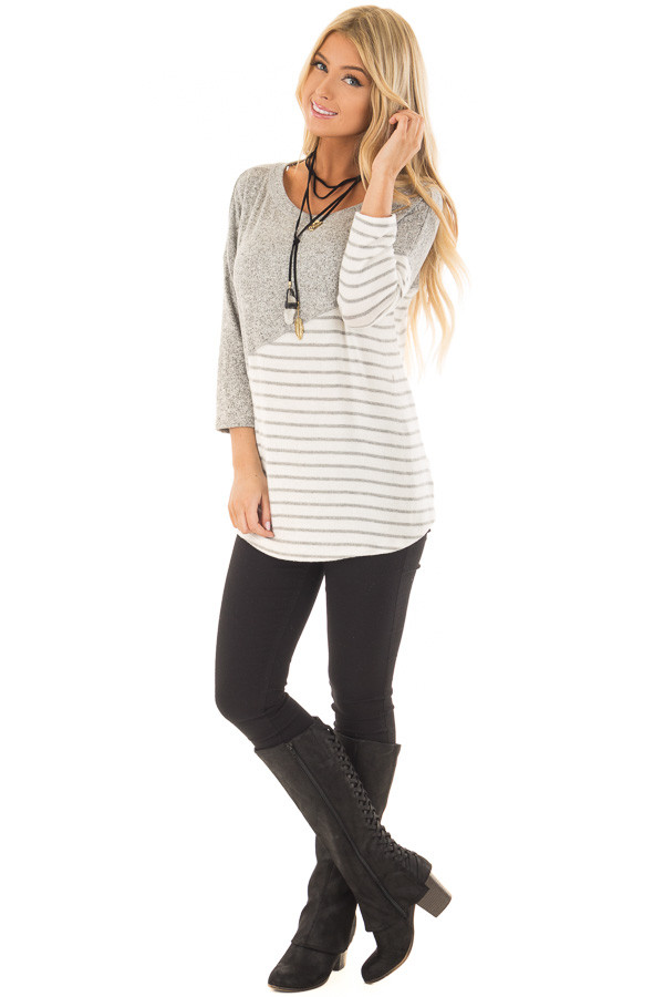 Heather Grey Soft Knit Top with Striped Diagonal Contrast front full body