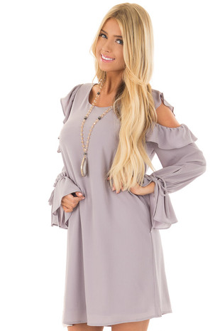 Lilac Cold Shoulder Dress with Ruffle Details front close up