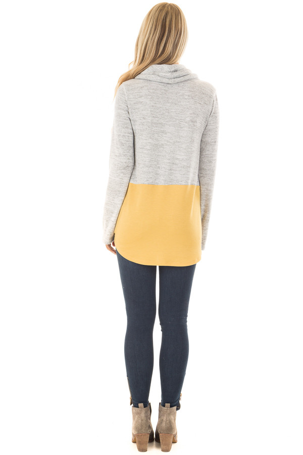 Heather Grey and Mustard Soft Cowl Neck Color Block Top back full body
