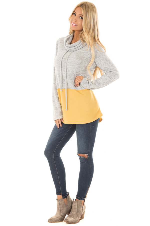 Heather Grey and Mustard Soft Cowl Neck Color Block Top front full body