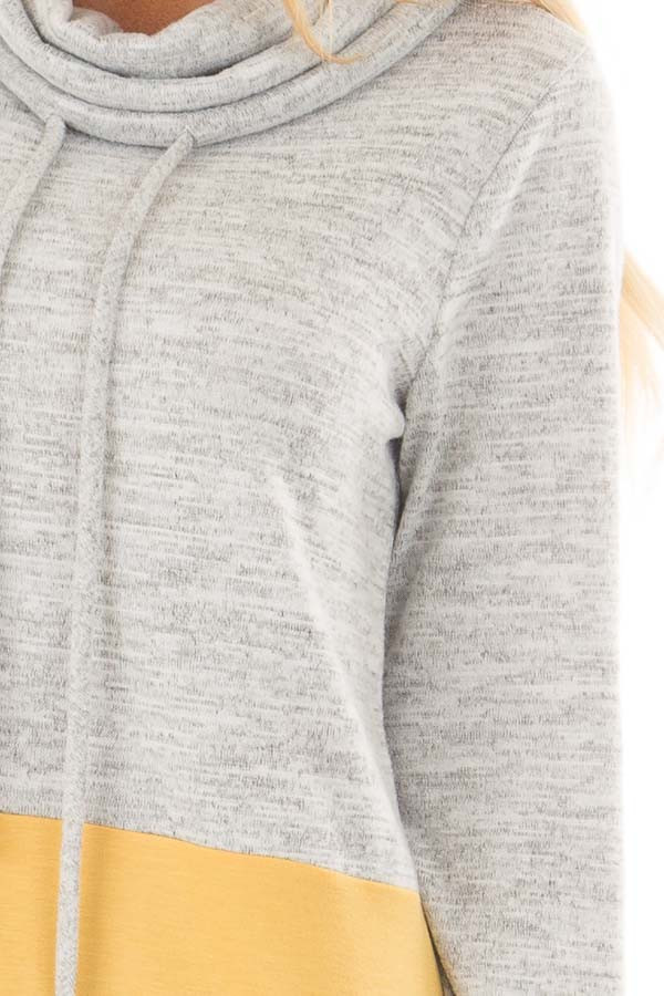 Heather Grey and Mustard Soft Cowl Neck Color Block Top detail