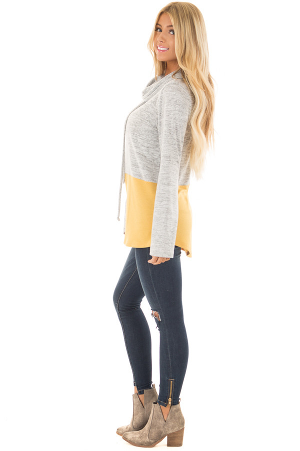Heather Grey and Mustard Soft Cowl Neck Color Block Top side full body