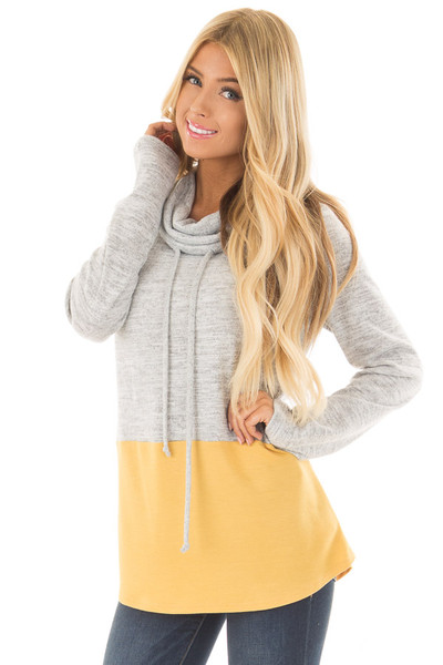 Heather Grey and Mustard Soft Cowl Neck Color Block Top front close up
