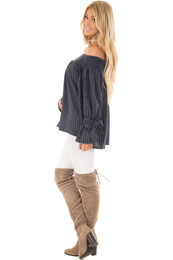 Navy Pinstripe Off the Shoulder Top side full body