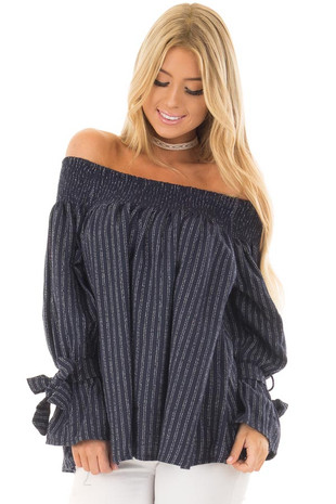 Navy Pinstripe Off the Shoulder Top front close up