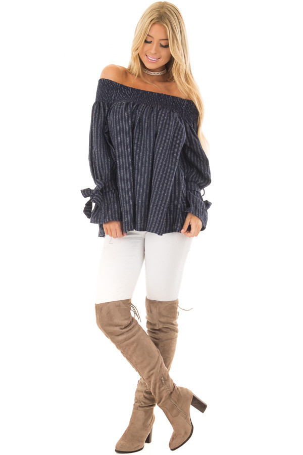 Navy Pinstripe Off the Shoulder Top front full body