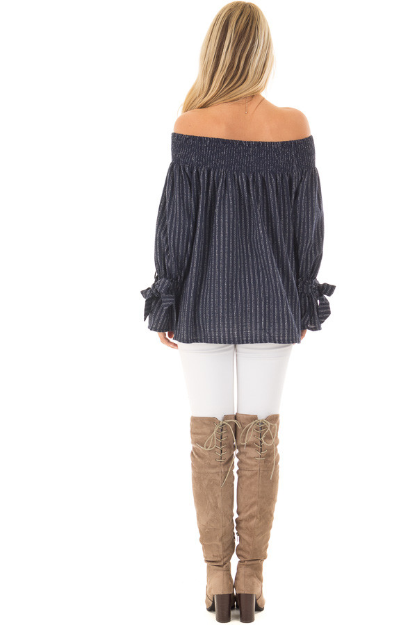 Navy Pinstripe Off the Shoulder Top back full body