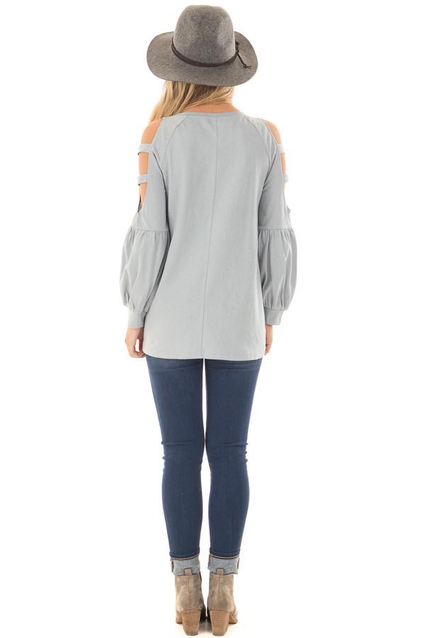 Slate Blue Top with Ladder Bubble Sleeves back full body