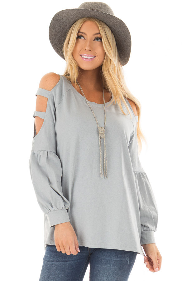 Slate Blue Top with Ladder Bubble Sleeves front close up