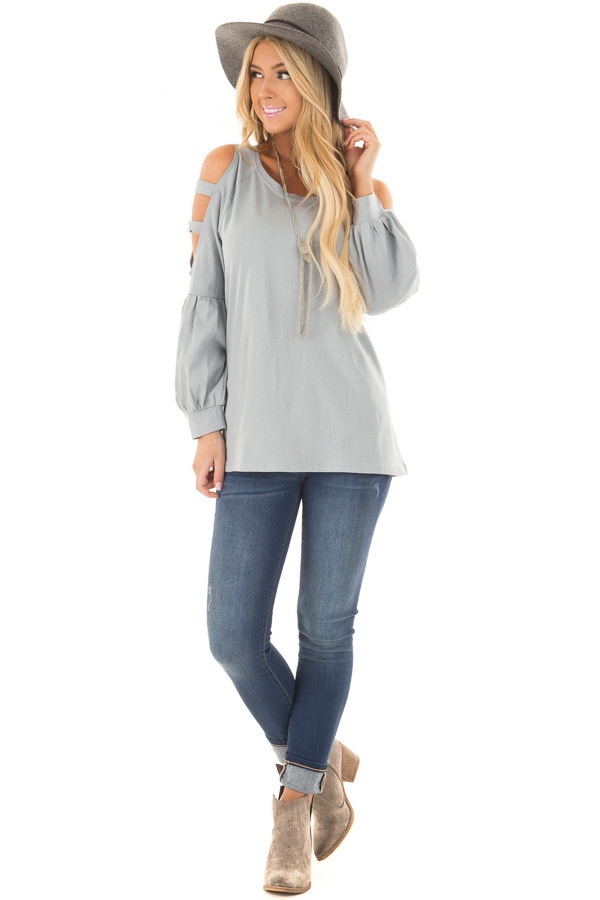 Slate Blue Top with Ladder Bubble Sleeves front full body