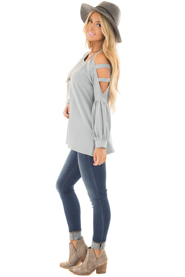 Slate Blue Top with Ladder Bubble Sleeves side full body