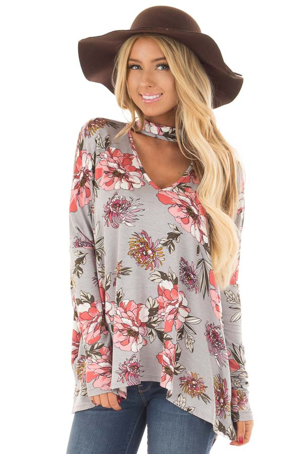 Grey Floral Print Oversized Top with Choker Band V Neck front close up