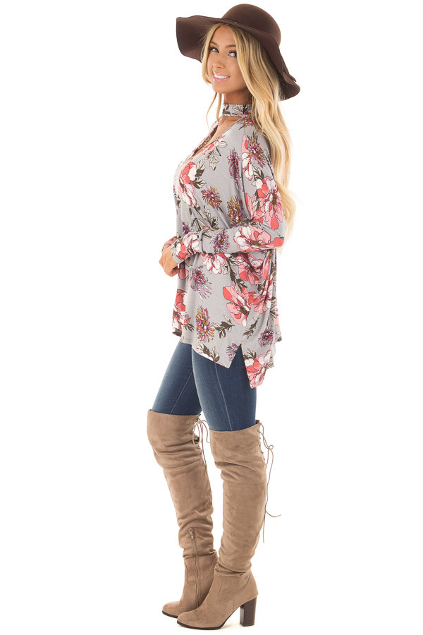 Grey Floral Print Oversized Top with Choker Band V Neck side full body