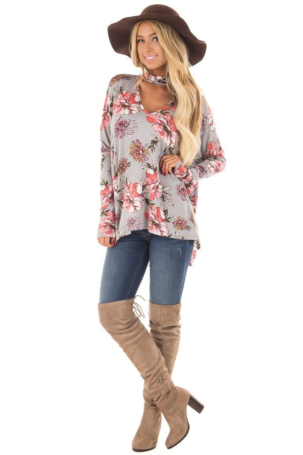 Grey Floral Print Oversized Top with Choker Band V Neck front full body