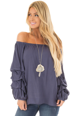 Navy Off the Shoulder Top with Gathered Bubble Sleeves front close up