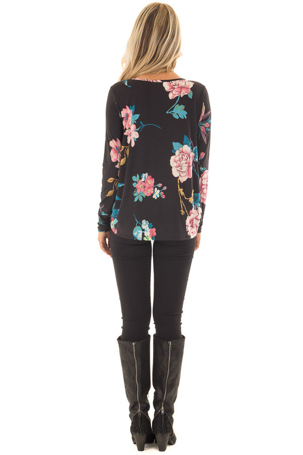 Black Floral Slinky Crossover Top with Keyhole Neckline back full body