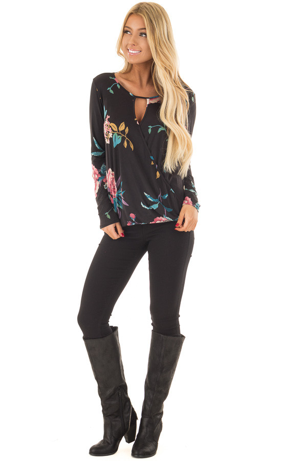 Black Floral Slinky Crossover Top with Keyhole Neckline front full body