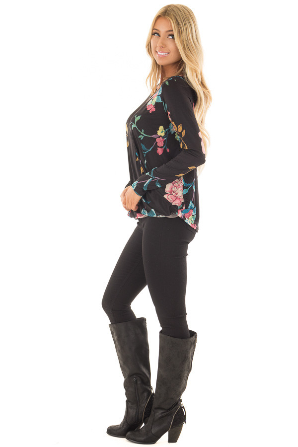 Black Floral Slinky Crossover Top with Keyhole Neckline side full body