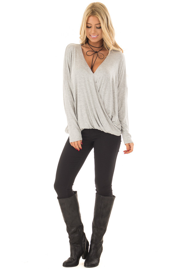 Heather Grey Solid Crossover Drape Oversized Top front full body