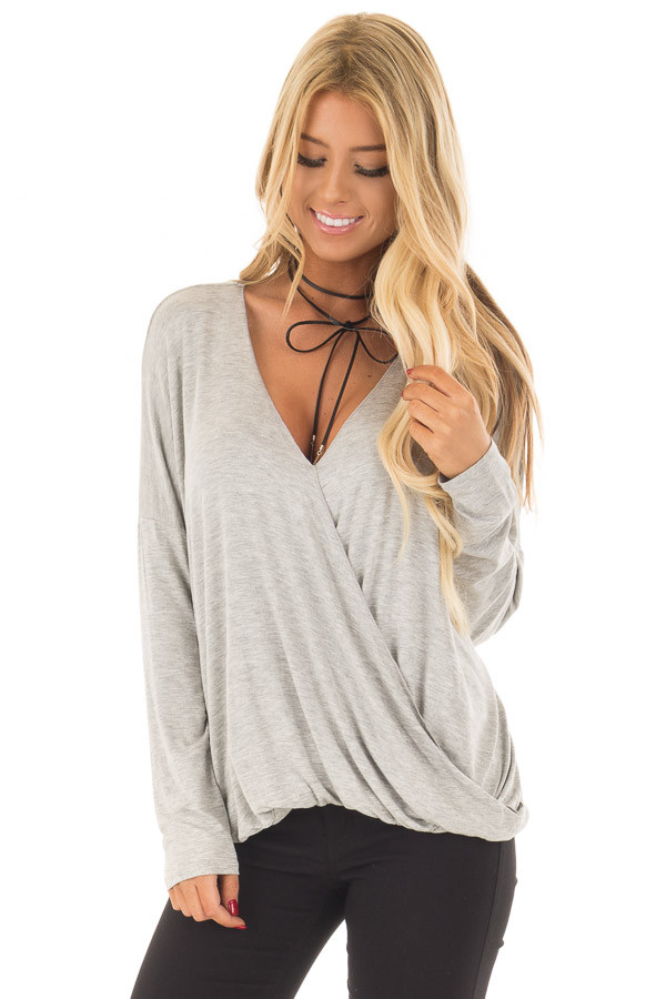Heather Grey Solid Crossover Drape Oversized Top front close up