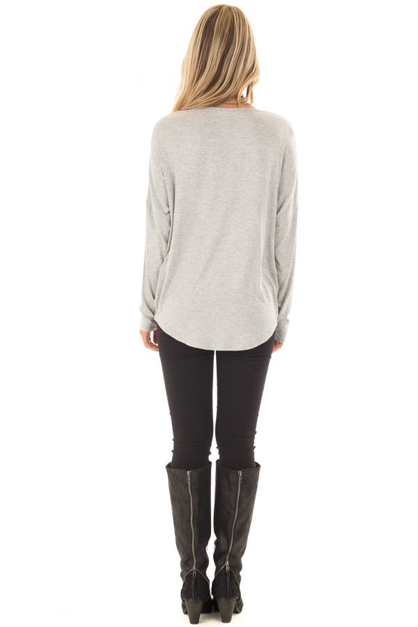 Heather Grey Solid Crossover Drape Oversized Top back full body