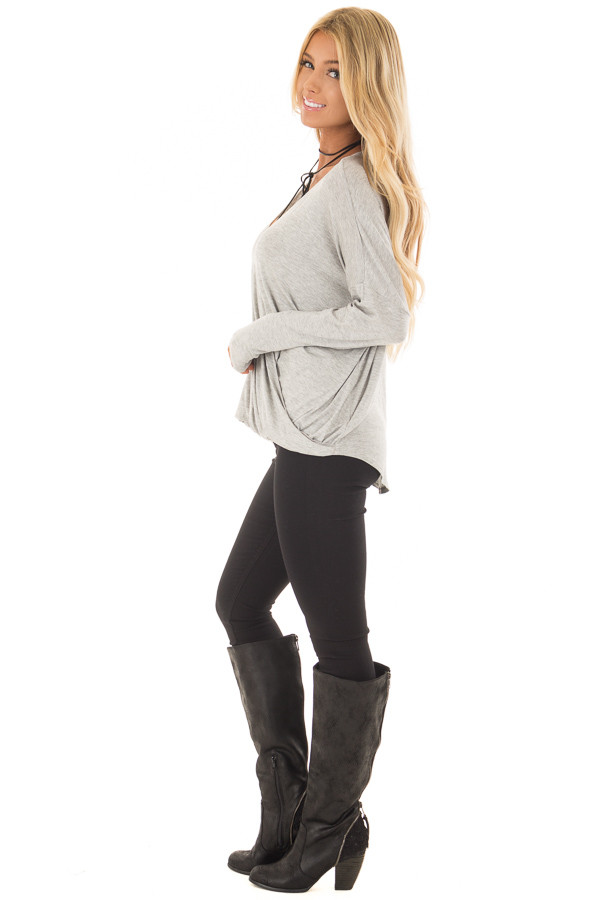 Heather Grey Solid Crossover Drape Oversized Top side full body