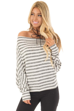 Charcoal and Off White Striped Off the Shoulder Top front close up
