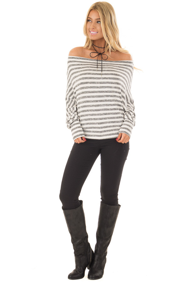 Charcoal and Off White Striped Off the Shoulder Top front full body