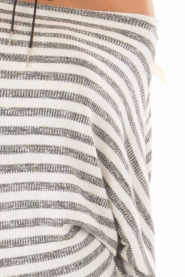 Charcoal and Off White Striped Off the Shoulder Top detail