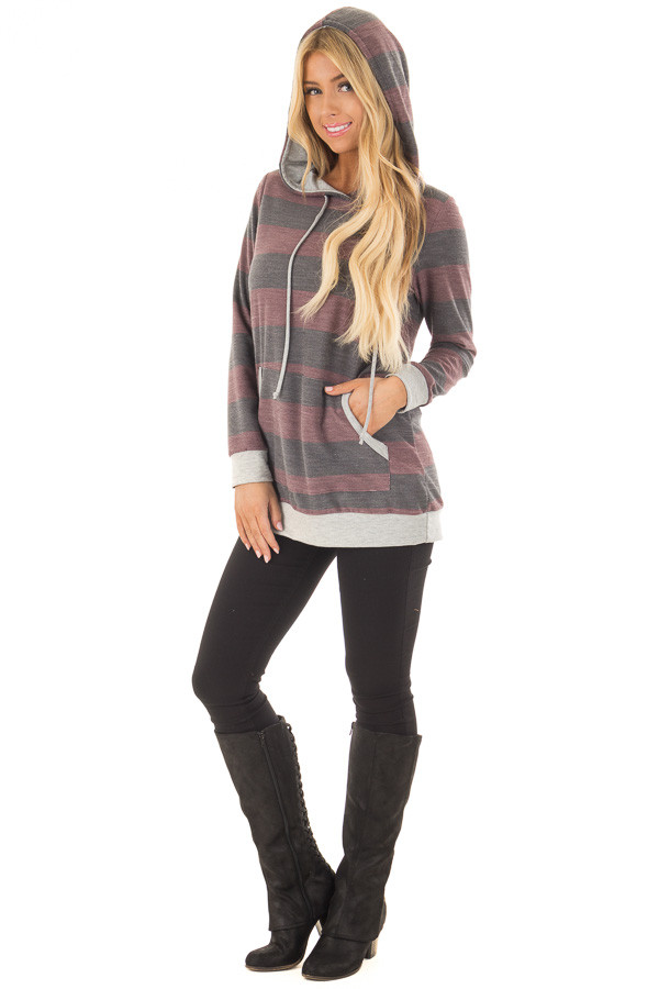 Burgundy and Charcoal Striped Hoodie with Kangaroo Pocket front full body
