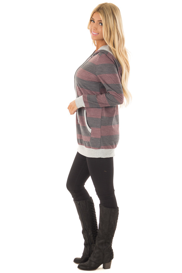 Burgundy and Charcoal Striped Hoodie with Kangaroo Pocket side full body