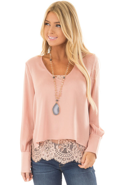 Blush Satin Two Piece Blouse with Lace Cami front close up