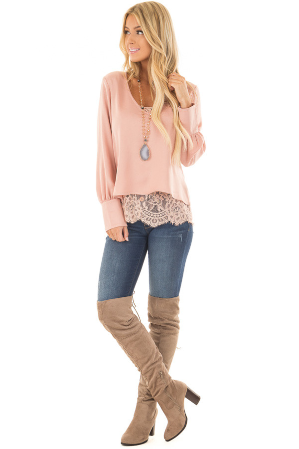 Blush Satin Two Piece Blouse with Lace Cami front full body