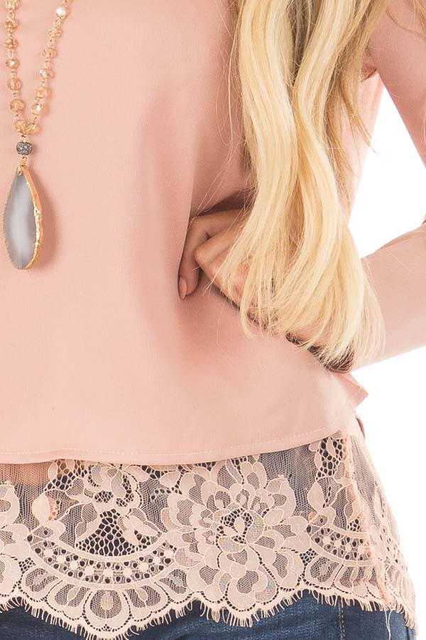 Blush Satin Two Piece Blouse with Lace Cami detail