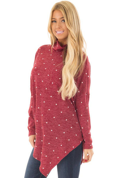 Burgundy Oversized Turtle Neck Top with Polka Dots front closeup