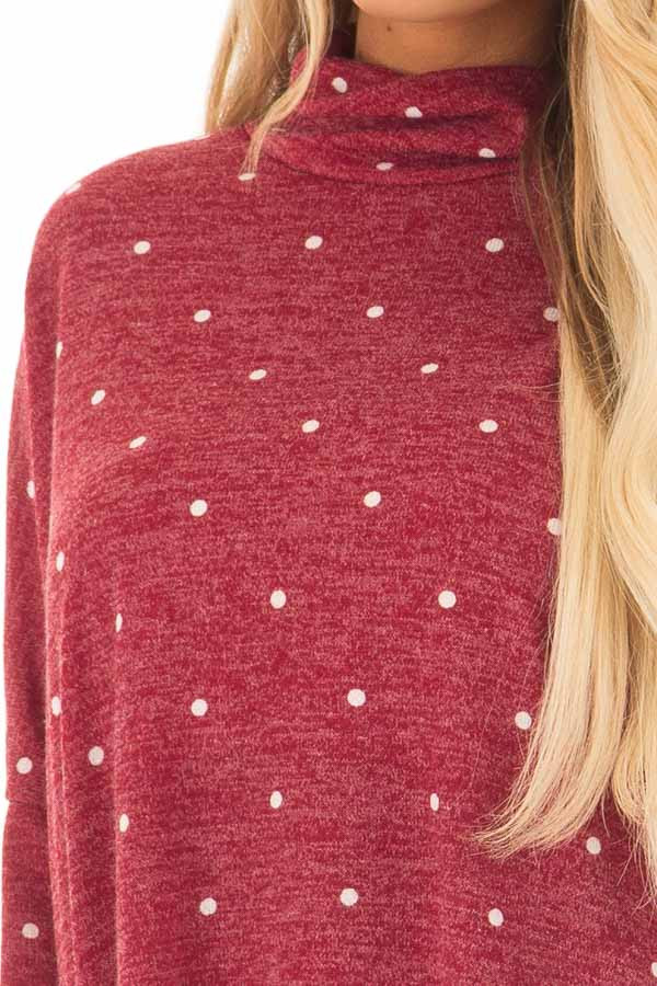 Burgundy Oversized Turtle Neck Top with Polka Dots front detail