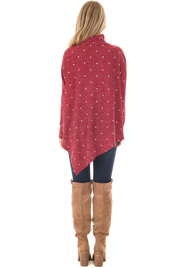 Burgundy Oversized Turtle Neck Top with Polka Dots back full body