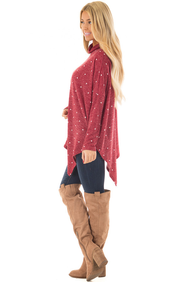 Burgundy Oversized Turtle Neck Top with Polka Dots side full body