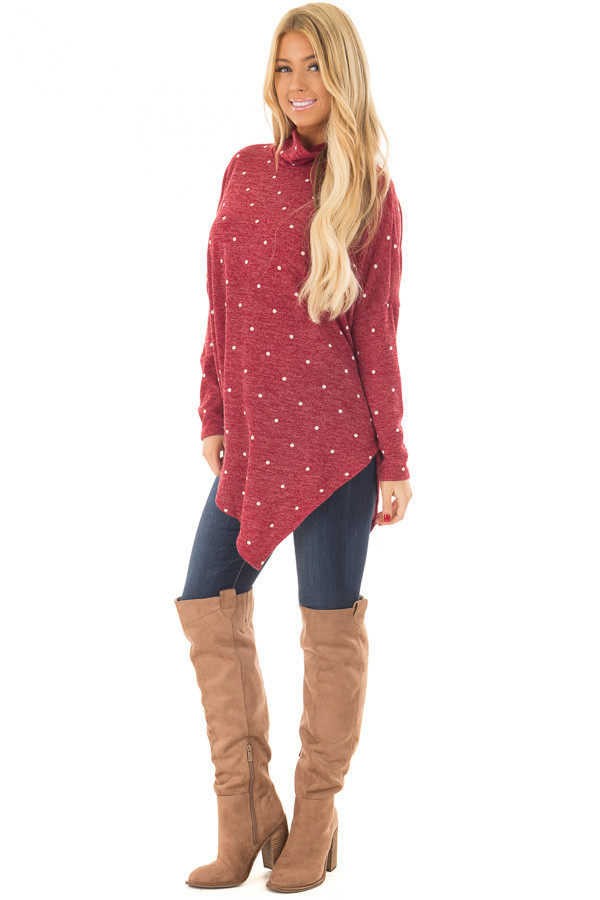 Burgundy Oversized Turtle Neck Top with Polka Dots front full body