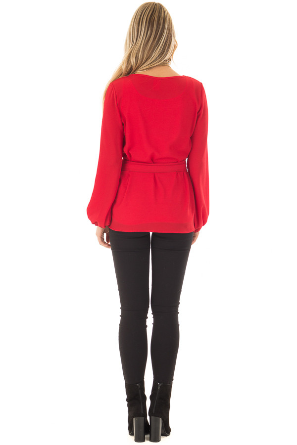 Lipstick Red Top with Waist Tie Detail back full body