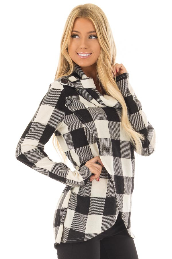 Black and Ivory Plaid Cowl Neck Wrap Style Sweater side closeup